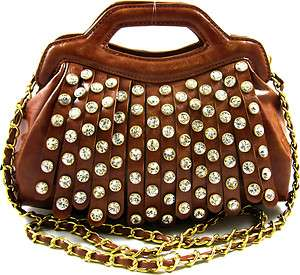 Western Rhinestone Fringed Gold Chain Strap 2 Way Small Satchel Purse