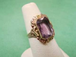 Vtg Rose de France Amethyst Tri Color Gold Ring 10kt Sz 5 3/4