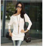 New White Sexy Korea Women Long Sleeve Zip Off Shoulder Dress