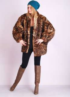 Vtg 80s LEOPARD FUR Shaggy Rabbit Draped Spotted Dress Swing Jacket