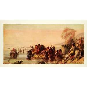 Oregon Trail Horse Colonists River Caravan Fur   Original Color Print