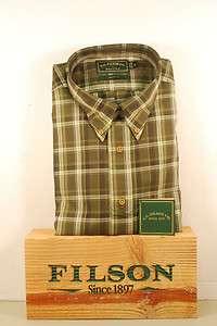 Filson Oak Harbour Plaid Cameron Button Down Shirt L XL Green Multi