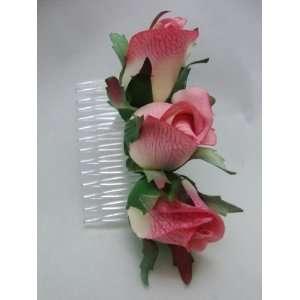 Pink Rose Bud Hair Comb