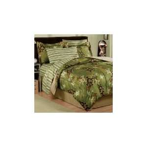 Boy Green Brown Skull Gothic Camo Stripe Twin Comforter Set (6pc Bed