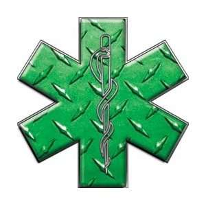 Star of Life EMT EMS Diamond Plate Green 6 Reflective