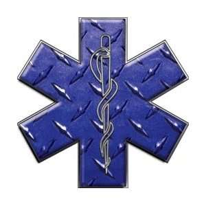 Star of Life EMT EMS Diamond Plate Blue 6 Reflective