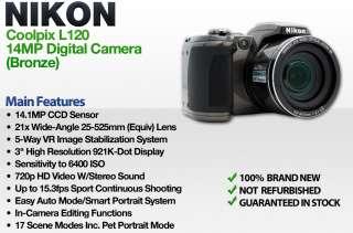 Nikon Coolpix L120 Digital Camera 14.1MP 21X (Bronze) 262555