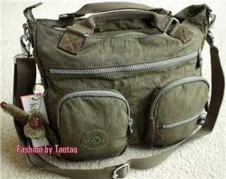 with Tag Kipling Adomma Handbag Shoulder Bag w furry Monkey Ginko Leaf