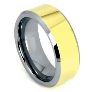 8mm 14k Gold Overlay Tungsten Carbide Ring Wedding Band with Beveled