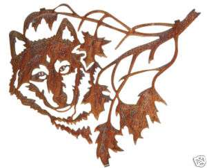 WOLF & MAPLE LEAVES METAL ART WALL DECOR NATURE HANGING
