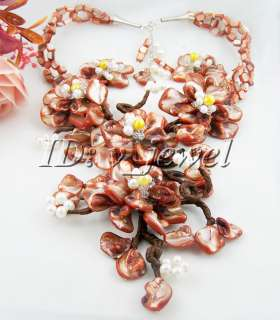 Flowernatural shell&pearl&crystal necklace/925 earring