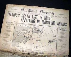 Great 1912 RMS TITANIC SINKING White Star Line Ocean Liner SINKS Old