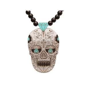 Good Wood Dia de Los Muertos beaded necklace