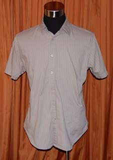 GUESS GRAY COTTON CASUAL LONDON S/S SHIRT MENS LARGE