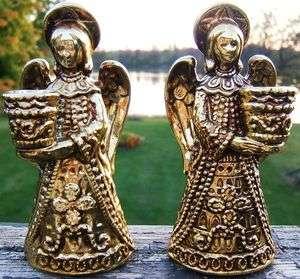 Vintage NAPCO Ceramic ANGEL CHRISTMAS CANDLE HOLDER SET X 7649 GOLD