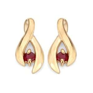 0.24 Ct Round Ruby Solid 14K Yellow Gold Earrings   New Jewelry