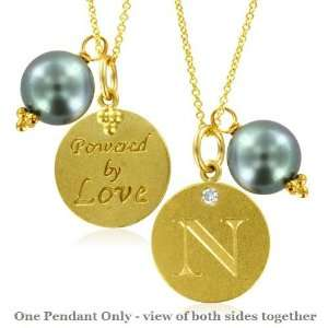 Natural Diamond Initial N, LOVE LETTERS Pendant Pearl Charm in 18k