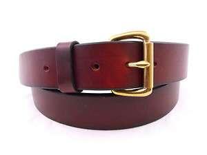 Show Harness Chestnut Work Leather Belt Solid Brass Roller Buckle Made
