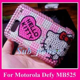 Hello Kitty H Bling Hard Case Cover Motorola Defy MB525