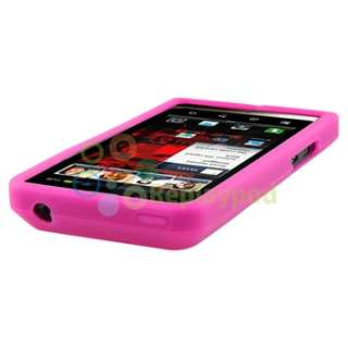 Pink Silicone Case+LCD Privacy Guard+Car Charger For Motorola Droid
