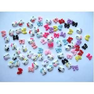 Nail Art 3d 80 Pieces Mix Hello Kitty Head & Bow Tie /Rhinestone for