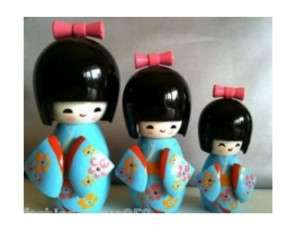 Japanese Creative Kokeshi Doll Three Shy Girls Blue