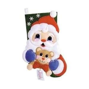 Santa And Teddy Bear Stocking Felt Applique Kit   16 Long