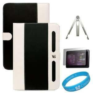 Black / White Book Style Leather Case Cover for Samsung
