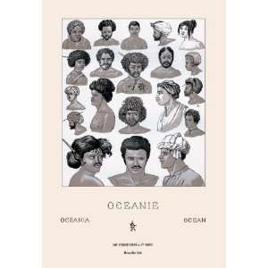 Headdresses and Hairstyles of Oceania 12x18 Giclee on