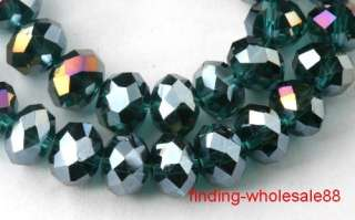Free25pcs peacock green glass crystal rondelle beads AB