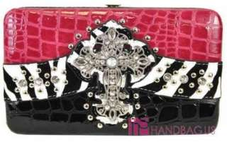 Western Patent Zebra Bling CROSS Pocket Tote Bag Handbag Purse Wallet