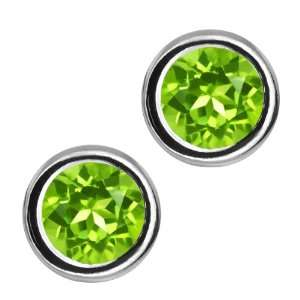 1.20 Ct Round Green Peridot Sterling Silver bezel Stud