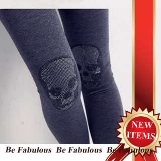 Gray Sexy Punk Rock Nana Gothic Rhinestone Skull Detail Leggings L XL