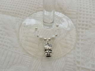 SILVER & WHITE 3D HELLO KITTY WINE GLASS CHARM GIFT (No63)