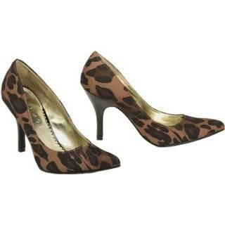 RAMPAGE Nicki Leopard Print Twill Pump [NICKI], Black / Brown