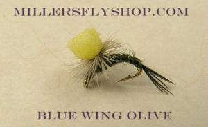 Travis Hi Vis BWO (Blue Wing Olive) Para Emerger #16