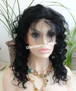 Lace Front 100% Indian Remy Human Hair Curly Wig 16 Dawa Curl