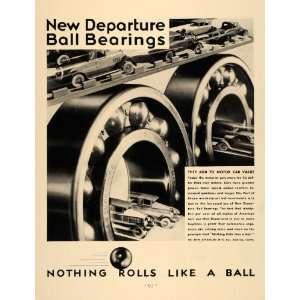 1931 Ad Motor Car Ball Bearings New Departure Art Deco