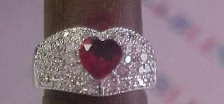 WHITE GOLD PLATED PREMIER CHIC RUBY HEART SHAPE PAVED CUBIC ZIRCONIA