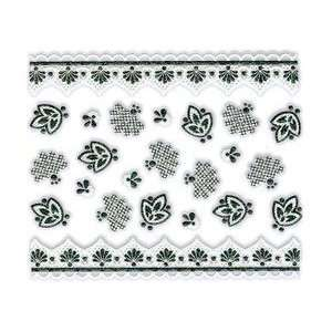 Iridescent Glitter White & Black Fan/Leaf Floral Nail Stickers/Decals