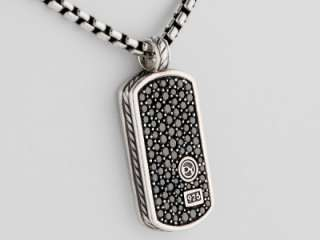 David Yurman Mens Small Black Diamond Pave Dog Tag 20 Inches Silver