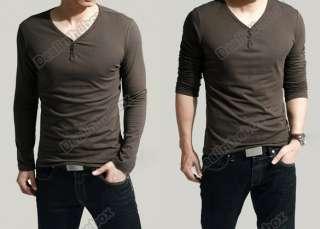 Mens Slim Fits Lycra Deep V Neck Long Sleeves T Shirts Tunic Button