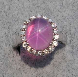 LINDE LINDY STAR SAPPHIRE CREATED TRANSPAR PINK SS RING