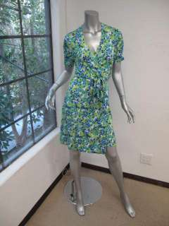 Lilly Pulitzer Blue/Green.White Printed Short Sleeve Mini Wrap Dress 6