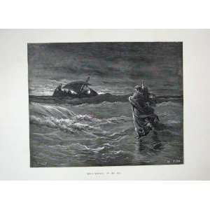 1870 Dore Bible Scene Jesus Walking Sea Ship Fine Art