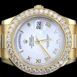 Mens Rolex Day Date II 2 President 18kt. Yellow Gold Pave Diamond