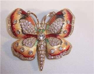 Signed Kenneth Jay Lane KJL Rhinestone Enamel Butterfly Pin Original