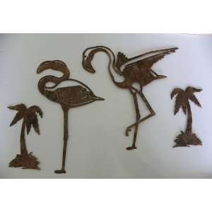 Flamingo and Palm Trees Set of 4 Metal Wall Art Tropical