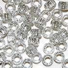 Silver 6x9mm Glitter Sparkle Pony Beads Kandi Raver Rave 4 Bracelets