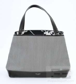 Kate Spade Navy & White Striped Canvas & Black Leather Trim Tote Bag